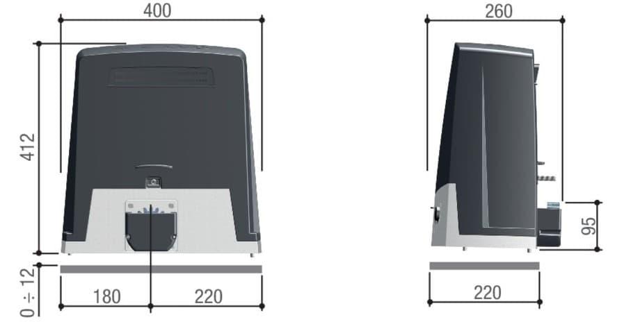 Габаритные размеры привода BKV20AGS CAME